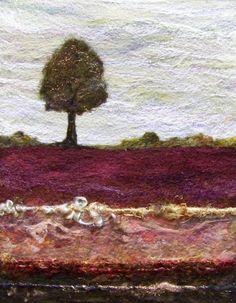 No593 Lone Tree Too  Needlefelt Art XLarge by Deebs on Etsy, $135.00