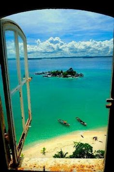 window ocean boat sand sunshine