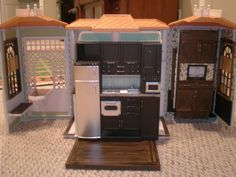 Barbie House make over - OOAK - Kitchen and entertainment center by Missypants, via Flickr