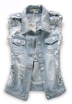 Point Collar Ripped Denim Vest with Lace Panel and Epaulets Sleeveless Denim Jackets, Denim Vests, Denim Waistcoat, Denim And Lace, Blue Denim, Denim Vintage, Jean 1, Denim Fashion, Fashion Outfits