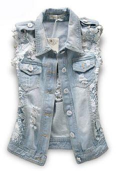 Point Collar Ripped Denim Vest with Lace Panel and Epaulets Fashion Font, Denim Fashion, Fashion Outfits, Denim Jeans, Ripped Denim, Denim And Lace, Blue Denim, Jean 1, Sleeveless Denim Jackets