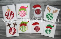 Made for Monogram Christmas Embroidery Mini Set. Get all 8 designs. Great for small projects like pocket tees, polos, headbands, socks, baby doll clothes and more.