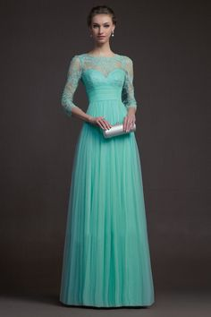 2014 Fresh 3/4 Length Sleeves Scoop A Line Prom Dress Embellished With Beads And Applique