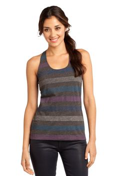 Racer Scrunched Back Tank.  We are obsessed with these reverse stripes.      #tank #apparel #color #fashion