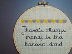 There's Always Money in the Banana Stand Arrested Development cross-stitch