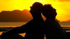 sunsets with the elderly | elderly couple back to back at tropical sunset, closeup - HD stock ...