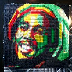 Bob Marley portrait hama perler beads by ejo0813