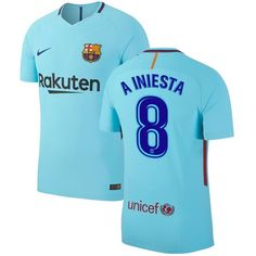 Andres Iniesta Barcelona Nike 2017/18 Away Authentic Jersey - Blue - $184.99