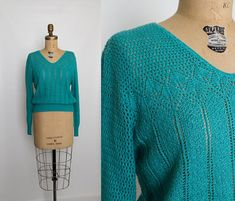vintage 80s turquoise pointelle sweater