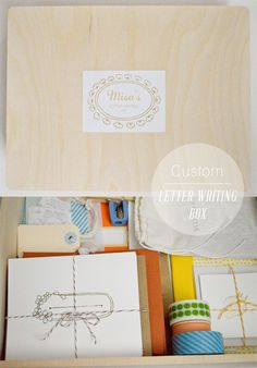 Playful Learning: Letter Writing Kit  mine would be more simple, envelopes, stamps, paper, stickers, pencils, sharpener, pens...