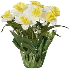 Spring Floral Daffodil In Pot White Yellow (8.38 CAD) ❤ liked on Polyvore featuring flowers