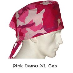 Scrub Surgical XL Caps Pink Camo 100% cotton made in the USA