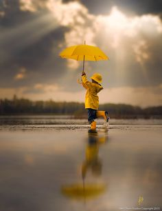 ○ 'Dancing In The Rain' by Jake Olson Studios. Yellow umbrella #reflection