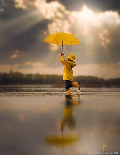 ○ 'Dancing In The Rain' by Jake Olson Studios. Yellow umbrella #reflection