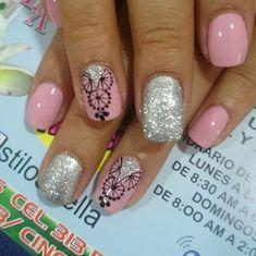 Trendy Nail Art, Cute Nail Art, Love Nails, My Nails, Henna Nails, Nail Designs, Hair Beauty, Rose Nails, Nail Art