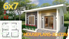 Simple House Design Plans with 3 Bedrooms Full Plans - House Plans Simple House Plans, Simple House Design, New House Plans, Tiny House Design, Two Bedroom House Design, One Bedroom Flat, 2 Bedroom House Plans, Bedroom Modern, Small House Layout