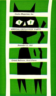 Paul Hartley Illustration - Staff dinner invitation, Cowles Magazine New York. From Graphis Annual 54/5, via Sandi Vincent