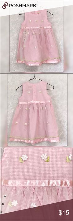 Toffee Apple Pink Gingham Jumper Dress Very soft cotton Gingham with Sheer Overlay skirt with Embroidered Daisies. Adorable. New with tags Toffee Apple Dresses Casual