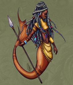 Tribal warrior mermaid - Art Print by Patricia Pedroso This tribal warrior mermaid was created for 2020 - It's a digital drawing with a tropical warm feeling and tones, to remind you of an underwater jungle. Black Girl Art, Black Art, Art Girl, Black Mermaid, Mermaid Man, Tribal Warrior, Black Cartoon, Mermaids And Mermen, Mermaid Tattoos