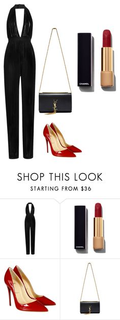 """""""The Red Carpet"""" by laurelbeauty on Polyvore featuring Balmain, Chanel, Christian Louboutin, Yves Saint Laurent, women's clothing, women's fashion, women, female, woman and misses"""