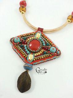 Ethnic tibetan turquoise pendant. Bead embroidery choker necklace
