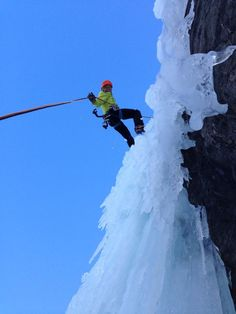 Perfect ice and perfect wether: Eddie Bauer guide Caroline George rappelling down Blue Magic. #LiveYourAdventure
