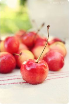 I buy these colored cherries for the table, instead of flowers sometimes!  They delight the eye.