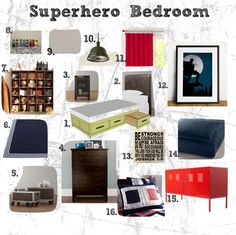 """""""Superhero Bedroom"""" by janetta-gray on Polyvore.... Love the Bible verse, add a cute Superhero background, print from printer, and frame for artwork that matches the theme"""
