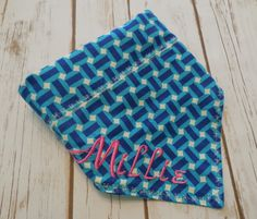 Personalized Turquoise Basket Weave Design.  Your pet's name boldly monogrammed in neon pink or orange. by CollarRap on Etsy
