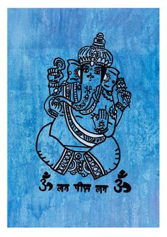 "Single layer mixed media screen print titled ""Ganesha"". The hand-drawn stencil was printed using white ink on textured paper blue paper. Extra detail was added using black posca paint pen. Other colour versions available on Flickr.  #ganesha #screenprinting #illustration #drawing #mixedmedia"
