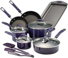 Add pops of functional color to your kitchen with this Rachael Ray Classic Brights Nonstick Porcelain Enamel Cookware Set. Aluminum cooking vessels deliver quick, even heat distribution while a durable nonstick-coated interior ensures easy cleanup. Enamel Cookware, Cast Iron Cookware, Rachael Ray Cookware Set, Pots And Pans Sets, Pan Set, Cool Tools, Cool Things To Buy, Porcelain, Bright
