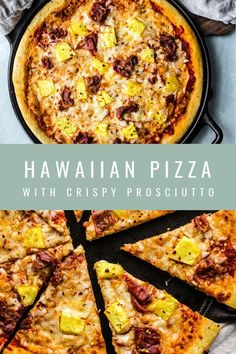 Hawaiian Pizza with Crispy Prosciutto    #hawaiianpizza #pizza #pineapple #prosciutto Pizza Recipes, Beef Recipes, Dinner Recipes, Cooking Recipes, Dinner Ideas, Prosciutto, Pineapple Pizza, Thyme Recipes, Healthy Family Meals