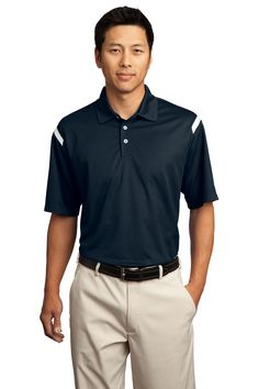 """<p><span style=""""font-size: small;""""><span style=""""font-family: Arial;"""">Achieve superior performance in this new polo crafted with Dri-FIT moisture management technology. Distinct shoulder stripes offer visual impact. Features a self-fabric collar, three-button placket, open hem sleeves and side vents. The contrast Swoosh design trademark is embroidered on the left sleeve. Made of 4.4-ounce, 100% polyester Dri-FIT fabric.</span></..."""