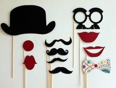 Cute little photo booth ideas. gets everyone involved!