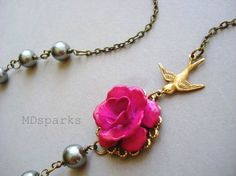 Pink Rose and Sparrow Necklace by MDsparks on Etsy, $29.00
