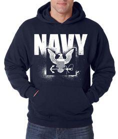 NAVY STENCIL HOODIE United States Crest Military Hooded Sweatshirt Hoody USNAVY #RockCityThreads #Hoodie