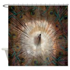 Vintage Style Peacock  Shower Curtain Modern  by FolkandFunky
