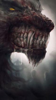 Werewolf Art by Dypsoman Art Arte Horror, Horror Art, Dark Fantasy Art, Dark Art, Fantasy Creatures, Mythical Creatures, Werewolf Art, Werewolf Teeth, Vampires And Werewolves