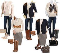 """10 Piece Fall Wardrobe - Cream Sweater 5 Ways"" by crystaljoyce ❤ liked on Polyvore"