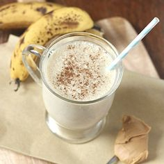 Deliciously smooth and malty Peanut Butter and Banana smoothie, made with maca.