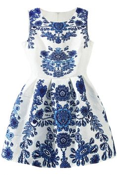 2015 Valentine Sale Floral Jacquard Pleated White Skater Tank Dress FREE SHIPPING WORLDWIDE