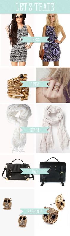 Let's Trade: Forever 21 >> Ethical alternatives to uber trendy pieces from Forever 21. My favorite = scarves from FashionABLE