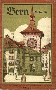 Travel brochure for Bern, Schweiz, Published by the Verkehrverein der… Tourism Poster, Poster Ads, Poster Prints, Grindelwald, Travel Brochure, Zermatt, Lausanne, Vintage Travel Posters, Illustrations Posters