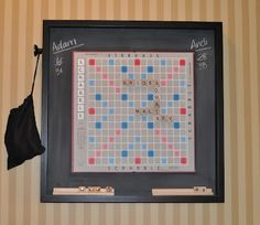 House of Payne: Hanging magnetic Scrabble board Game. Can Always Have A Game Going. With Pictures DIY Instructions Magnetic Scrabble Board, Scrabble Board Game, Scrabble Art, Magnetic Wall, Scrabble Tiles, Scrabble Crafts, Office Desk Organization, Diy Hanging, Game Room