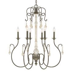 This 10-light chandelier from the Vineyard collection features a beautifully hand painted French Country finish that will complement many traditional decors. The perfect contrast of the column, arms and hanging accents will add elegance to any space.