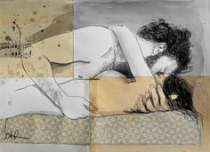 "Saatchi Online Artist Loui Jover; Drawing, ""lovers on a patterned mattress"" #art"