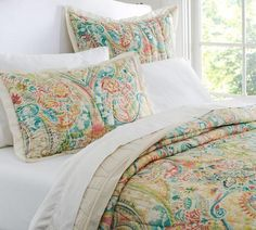 Bedding - Bethany Paisley Quilt & Sham | Pottery Barn - pastel colored paisley bedding, paisley quilt, paisley bedding,