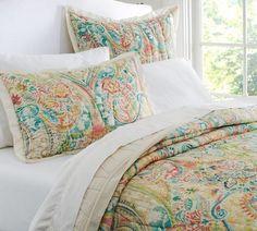 Bedding - Bethany Paisley Quilt & Sham   Pottery Barn - pastel colored paisley bedding, paisley quilt, paisley bedding,