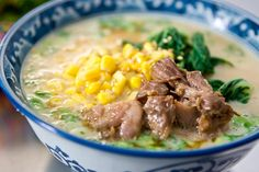 """Tonkotsu Ramen with pork, corn and bok choy, by Marc Matsumoto. Tonkotsu Ramen comes from the """"deep south"""" of Japan, where my folks are from.  Interestingly enough, one of the main ingredients is braised pork bellies or pork cheeks.  What is it about the south and comfort food?"""