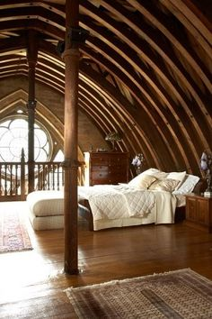 vaulted ceiling bedroom, just love church conversions Quonset Hut Homes, Log Homes, Dream Bedroom, Home Bedroom, Master Bedroom, Master Suite, Bedroom Loft, Bedroom Retreat, Mezzanine Bedroom